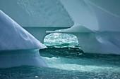 Wave-sculpted iceberg base