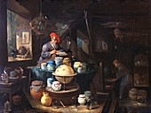 Alchemist working,17th Century artwork