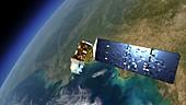 LDCM satellite in orbit,artwork