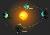 Diagram of the mechanics of the seasons