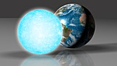 Earth compared to a white dwarf
