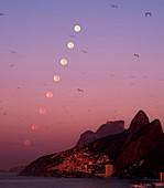 Moon setting over Rio de Janeiro,Brazil