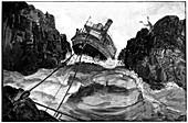 Gunboat on Nile rapids,19th century