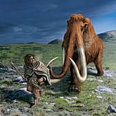 Mammoth chasing a caveman,artwork