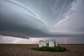 Supercell thunderstorm and farmstead