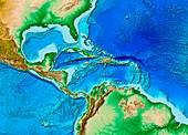 Caribbean topography,ETOPO1 model