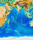 Indian Ocean topography,ETOPO1 model