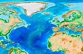 North Atlantic topography,ETOPO1 model