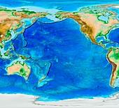 Pacific Ocean topography,ETOPO1 model