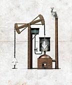 Newcomen's engine,artwork