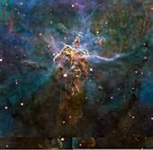 Carina Nebula features,HST image