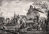 Quack at a village fair,18th century