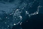 East asia at night