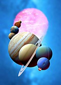 Solar system planets and Sun,artwork