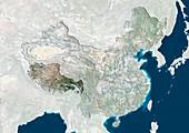 Tibet,China,satellite image
