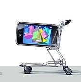 Mobile internet shopping,concept
