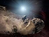 Dinosaur-killing asteroid,artwork