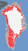 Greenland ice melt,2012,satellite image