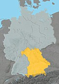 Bavaria,Germany,relief map