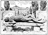 Plaster cast of Pompeii victim,artwork
