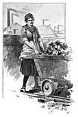 Female mine worker,artwork