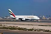 Emirates Airbus A380 at Dubai airport