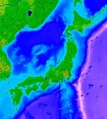 Japan,bathymetric map