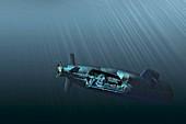 Hydrogen-powered submarine,artwork