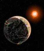 Earth-like extrasolar planet,artwork