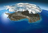 Antarctic continent and ice cap,artwork