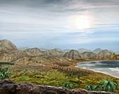 Pangea prehistoric landscape,artwork