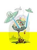 Hollywood science,conceptual artwork