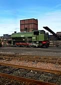 1940s steam locomotive in sidings