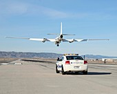 ER-2 research aircraft and chase car