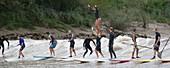 Surfers on the Garonne tidal bore
