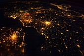 North-western Europe at night,ISS image