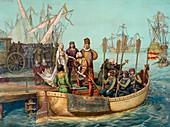 Columbus departs Spain,August 1492