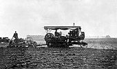 Ploughing with tracked tractor,1912