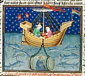 Alexander's diving bell,medieval artwork