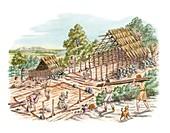 Bronze Age house building,artwork