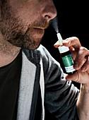 Nasal spray application,high-speed image