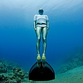Freediver underwater