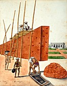 Mud wall construction in India,1810s
