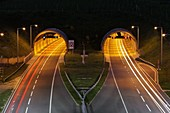 Hindhead Tunnel at night