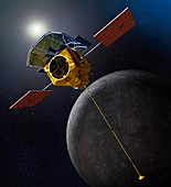 MESSENGER spacecraft at Mercury,artwork