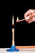 Lighting a splint with a Bunsen flame