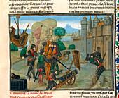 Soldiers besieging a town