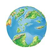 Cretaceous Europe,Earth globe