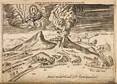 Illustration of volcanoes erupting