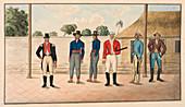 Six Javanese officers and men